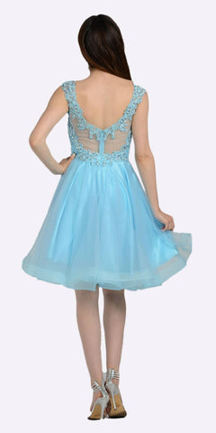 Blue Embellished Bodice Knee Length Illusion Homecoming Dress
