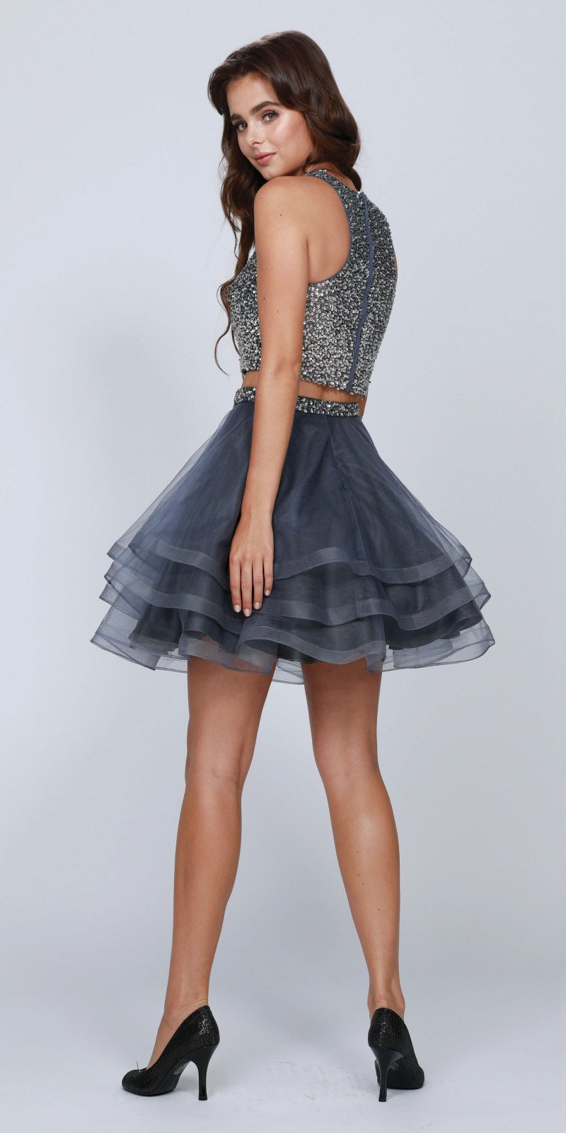 1cd6d77c670 ... Two-Piece Short Prom Dress Sleeveless Beaded Crop Top Charcoal ...