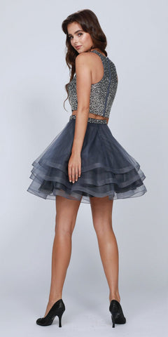 2b36bea99261 Two-Piece Short Prom Dress Sleeveless Beaded Crop Top Charcoal