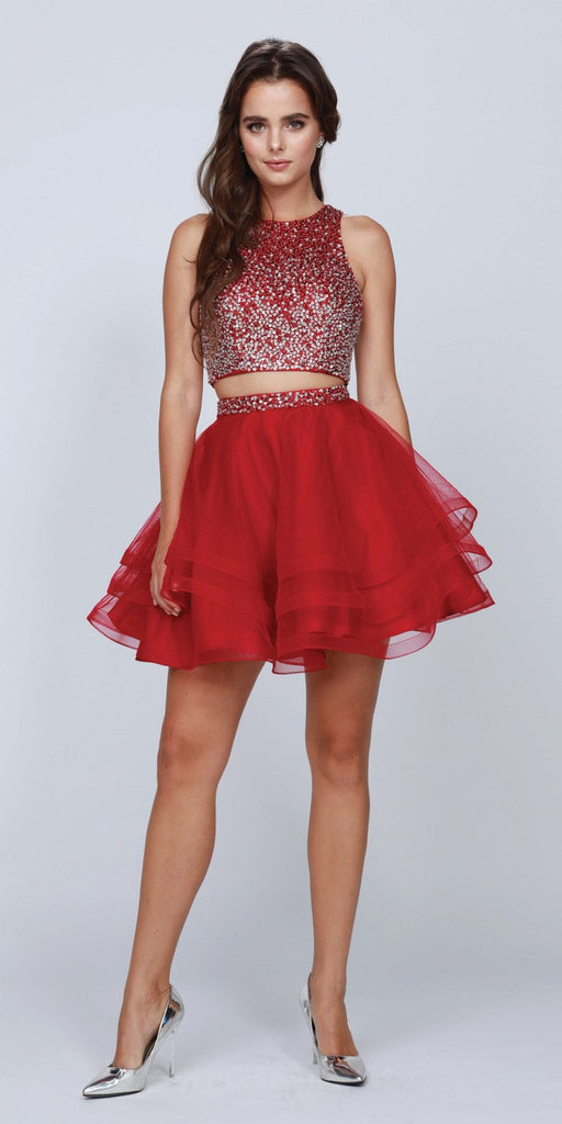 Two-Piece Short Prom Dress Sleeveless Beaded Crop Top Burgundy