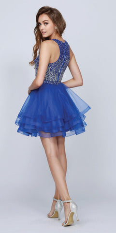 Two-Piece Short Prom Dress Sleeveless Beaded Crop Top Royal Blue