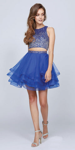 Two Piece Chiffon/Mesh Short Prom Dress Fuchsia Wide Straps