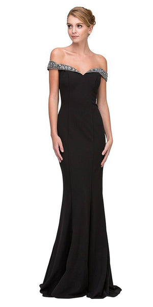 Beaded Off-the-Shoulder Mermaid Long Prom Dress Black