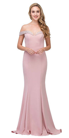 Beaded Off-the-Shoulder Mermaid Long Prom Dress Blush