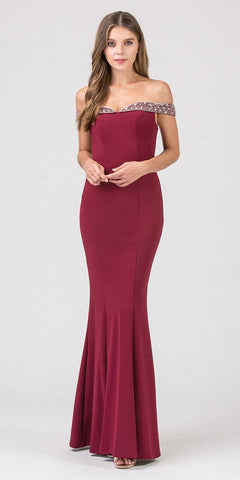 Eureka Fashion 8100 Beaded Off-the-Shoulder Mermaid Long Prom Dress Burgundy