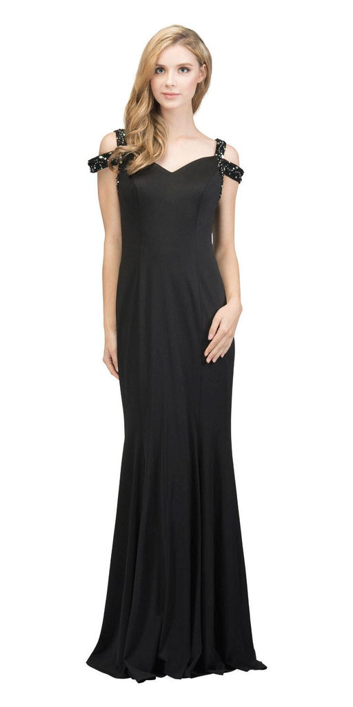 Black Long Formal Dress with Beaded Cold-Shoulder