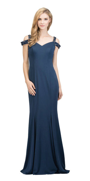 Navy  Blue Long Formal Dress with Beaded Cold-Shoulder