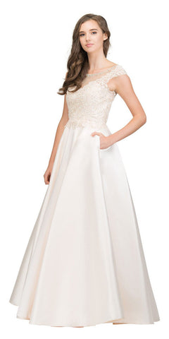 Champagne Prom Ball Gown Illusion Neckline with Pockets