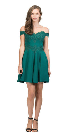 Off-Shoulder Homecoming Short Dress with Appliques Huntergreen