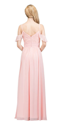 Blush Long Formal Dress with Flounce Cold-Shoulder