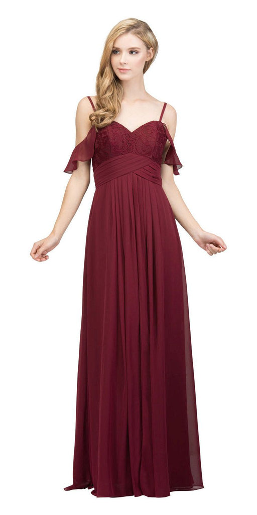 Burgundy Long Formal Dress with Flounce Cold-Shoulder