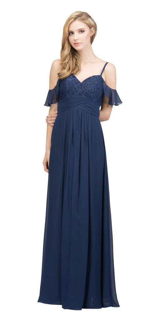 Navy Blue Long Formal Dress with Flounce Cold-Shoulder