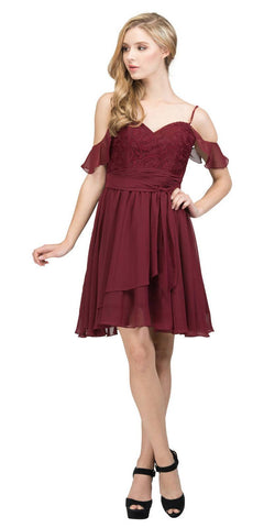 Cold-Shoulder Homecoming Short Dress Lace Up Back Burgundy
