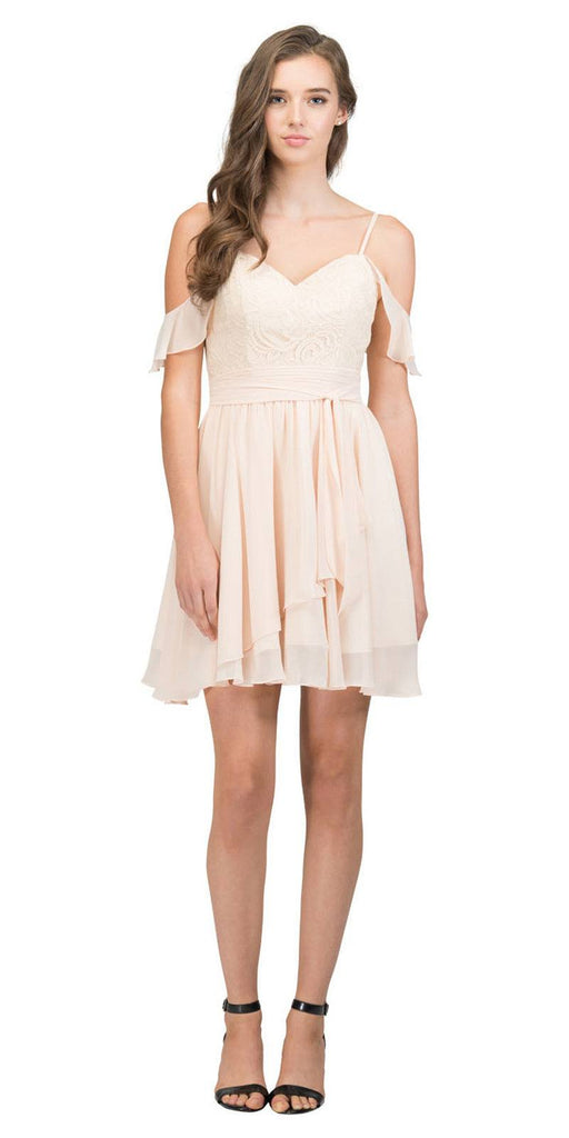 Cold-Shoulder Homecoming Short Dress Lace Up Back Champagne