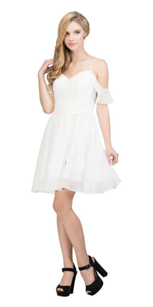 Cold-Shoulder Homecoming Short Dress Lace Up Back Off White