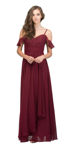 Burgundy Lace-Up Back Long Formal Dress with Cold Shoulder