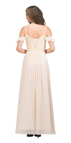 Champagne Lace-Up Back Long Formal Dress with Cold Shoulder