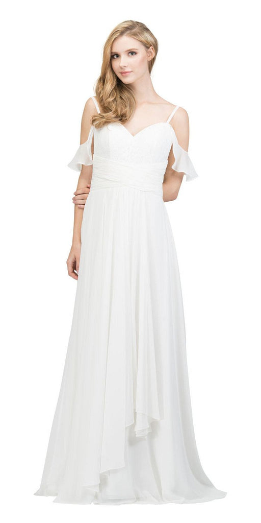 Off White Lace-Up Back Long Formal Dress with Cold Shoulder