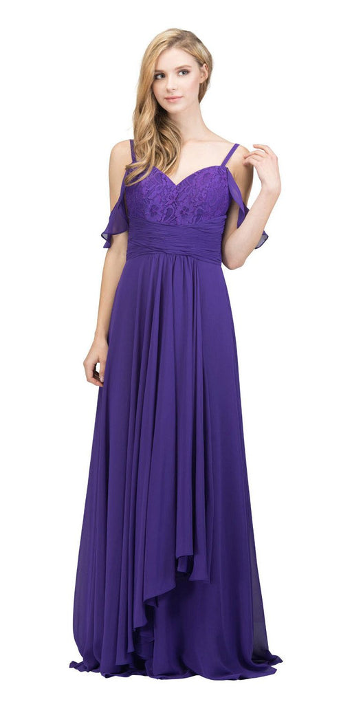 Purple Lace-Up Back Long Formal Dress with Cold Shoulder