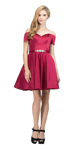 Off-Shoulder Homecoming Short Dress Burgundy