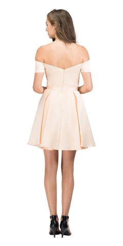 Off-Shoulder Homecoming Short Dress Champagne