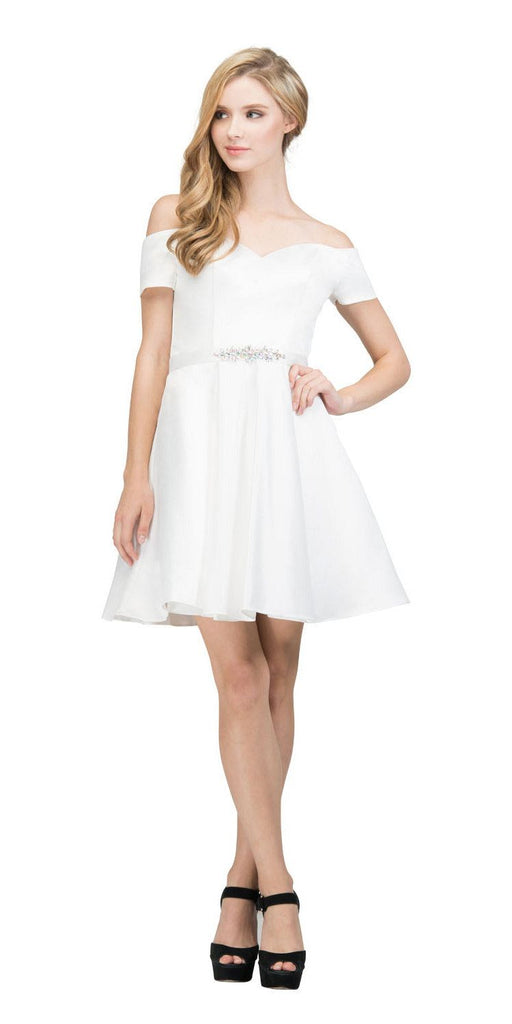 Off-Shoulder Homecoming Short Dress Off White