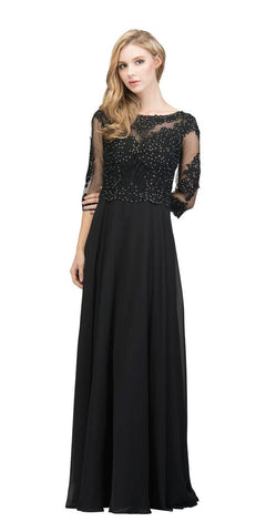 Appliqued Quarter Sleeves A-line Long Formal Dress Black