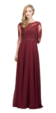 Appliqued Quarter Sleeves A-line Long Formal Dress Burgundy
