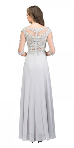 Appliqued Quarter Sleeves A-line Long Formal Dress Champagne