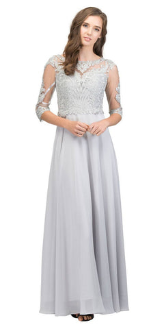 Appliqued Quarter Sleeves A-line Long Formal Dress Silver