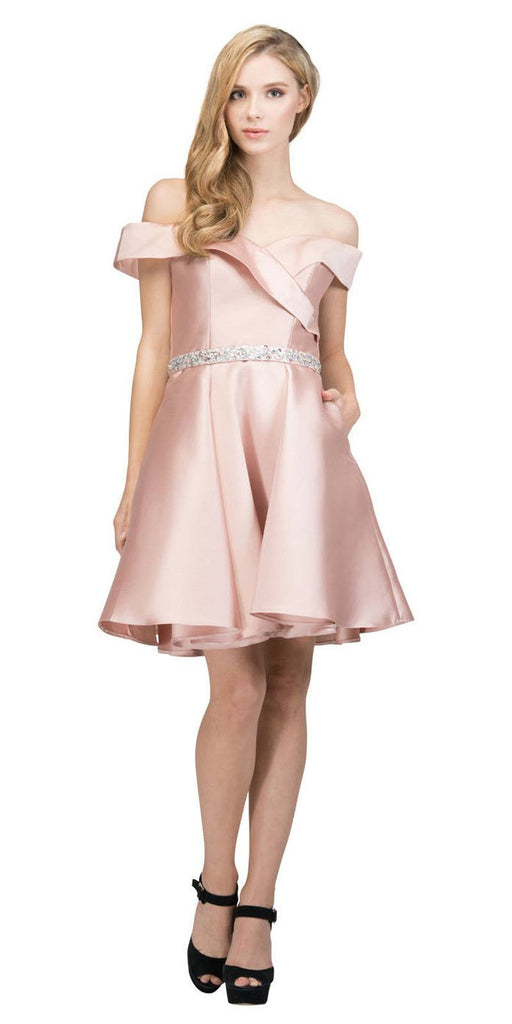 Off-Shoulder Homecoming Short Dress with Pockets Dusty Rose