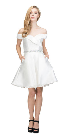 Off-Shoulder Homecoming Short Dress with Pockets Off White