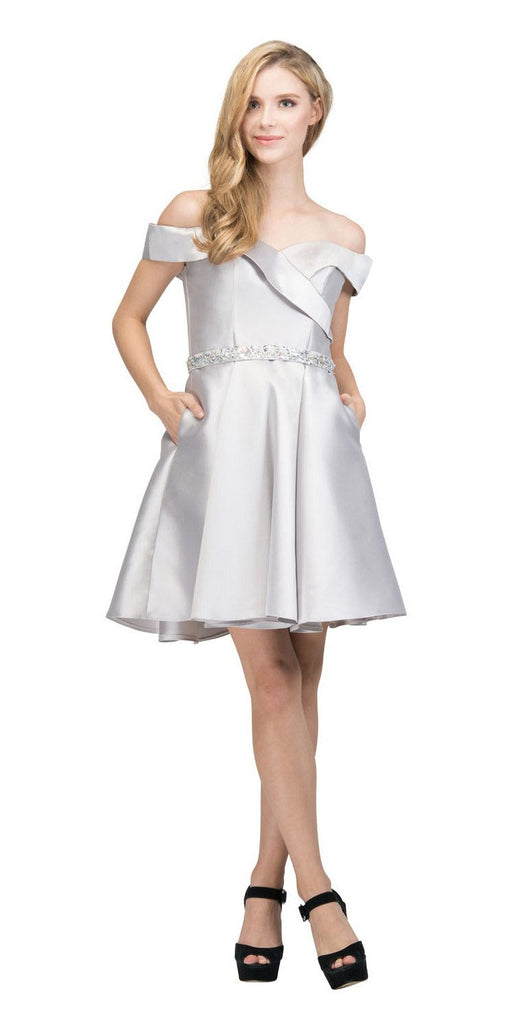 Off-Shoulder Homecoming Short Dress with Pockets Silver