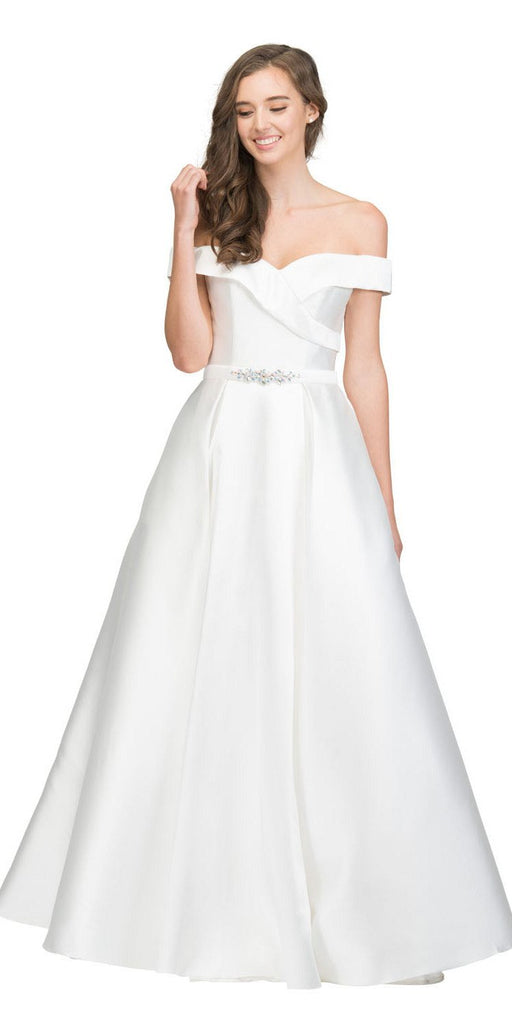 Off-Shoulder Long Prom Dress Off White with Pockets