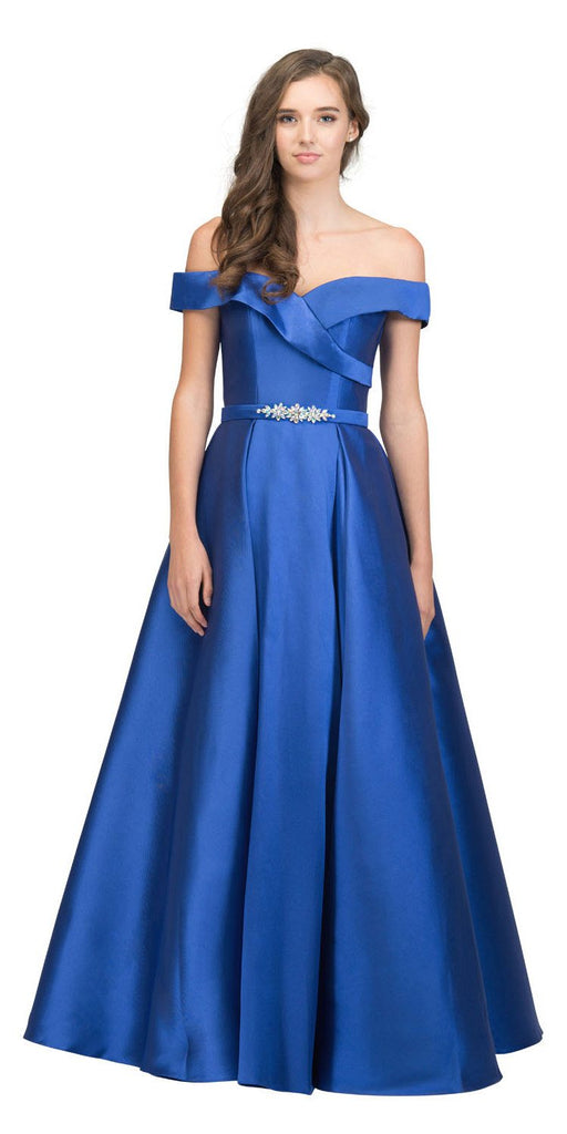 Off-Shoulder Long Prom Dress Royal Blue with Pockets