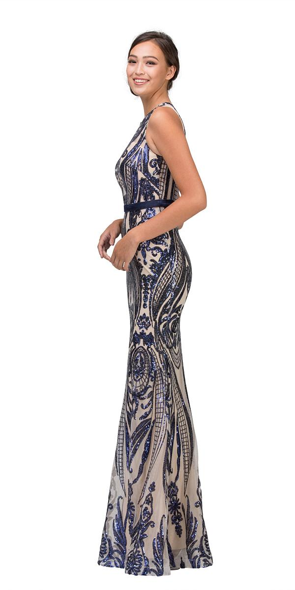 Eureka Fashion 8105 Sequins Mermaid Evening Gown with Satin Belt ...