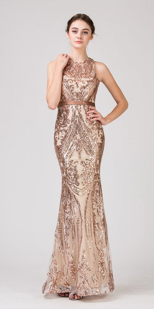 Eureka Fashion 8105 Sequins Mermaid Evening Gown with Satin Belt Rose Gold