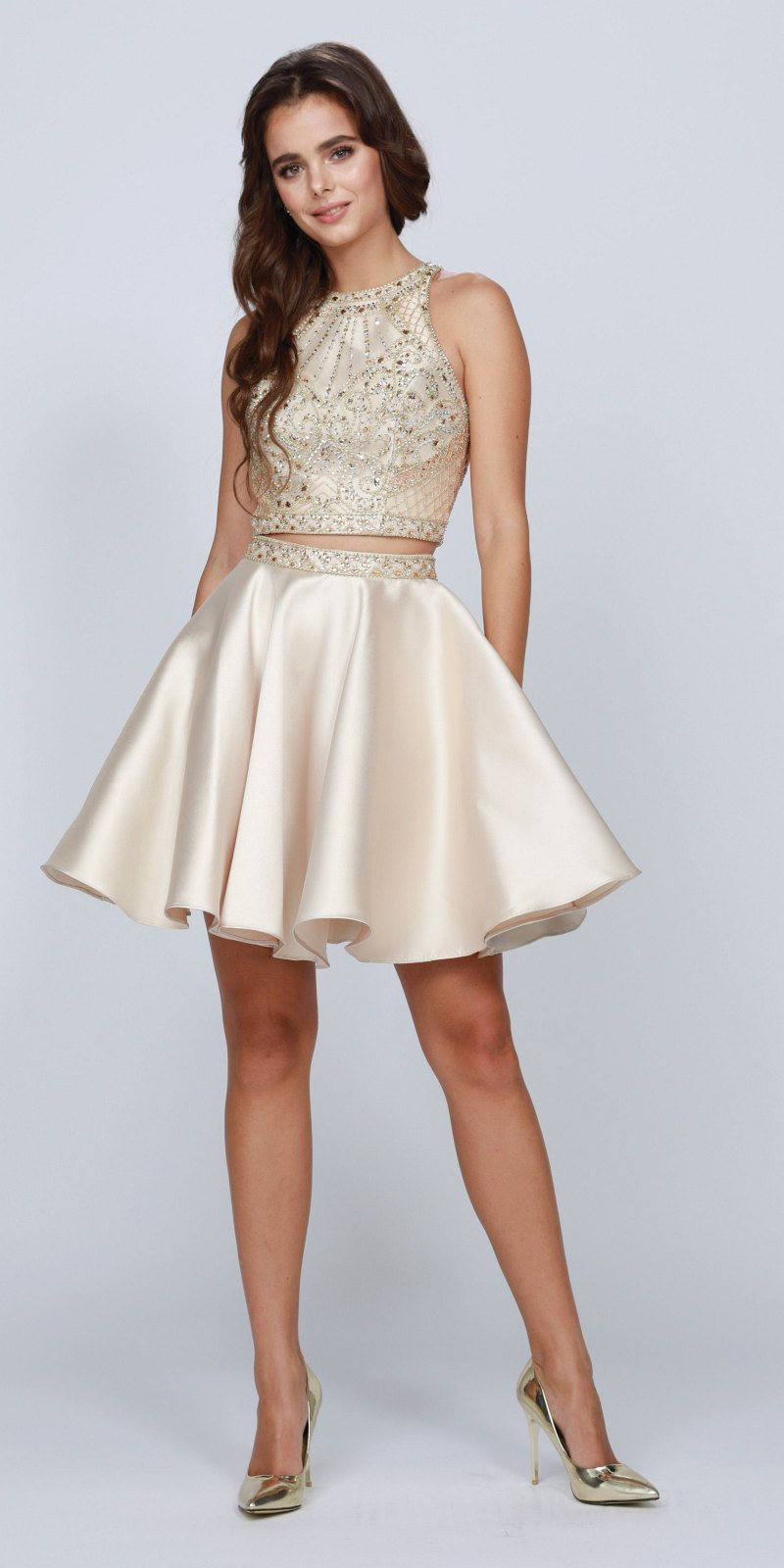 196da8803cf1 Champagne Two-Piece Homecoming Short Dress Cut-Out Back. Tap to expand