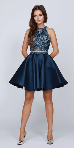 Navy Blue Two-Piece Homecoming Short Dress Cut-Out Back