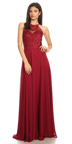 Burgundy Halter A-line Long Formal Dress Lace Appliqued Bodice