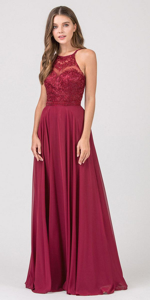 Eureka Fashion 8111 Burgundy Halter A-line Long Formal Dress Lace Appliqued Bodice