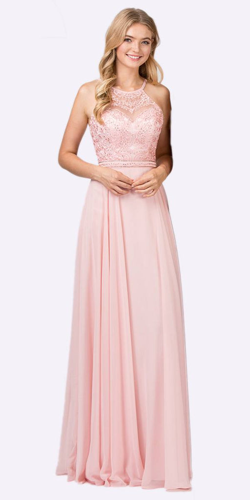 Eureka Fashion 8111 Dusty Pink Halter A-line Long Formal Dress Lace Appliqued Bodice