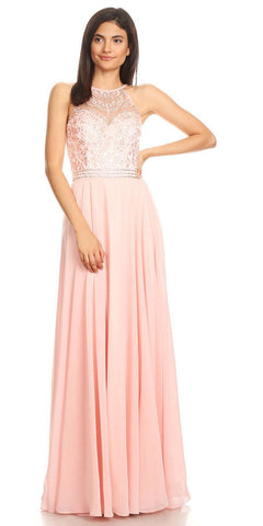 Dusty Pink Halter A-line Long Formal Dress Lace Appliqued Bodice
