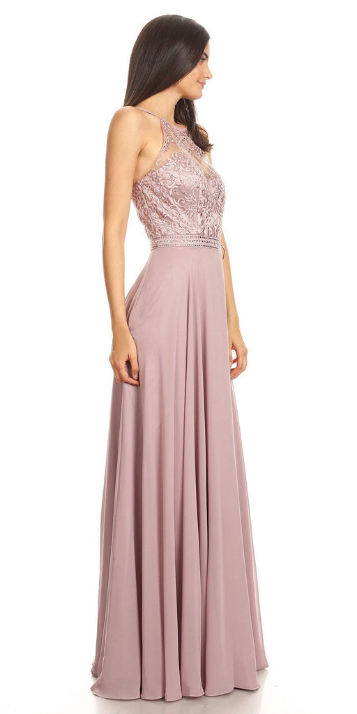 Mocha Halter A-line Long Formal Dress Lace Appliqued Bodice
