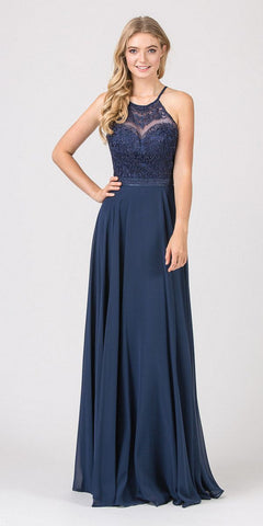 Eureka Fashion 8111 Navy Blue Halter A-line Long Formal Dress Lace Appliqued Bodice
