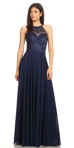 Navy Blue Halter A-line Long Formal Dress Lace Appliqued Bodice