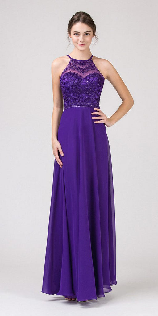 Eureka Fashion 8111 Purple Halter A-line Long Formal Dress Lace Appliqued Bodice
