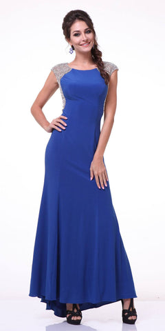 Cap Sleeves Jeweled Long Evening Dress Royal Blue
