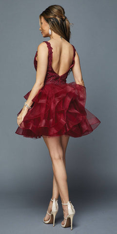 V-Neck Ruffled Short Homecoming Dress Burgundy