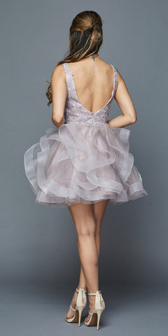 V-Neck Ruffled Short Homecoming Dress Mauve